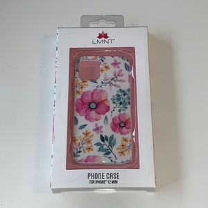 LMNT phone case for iPhone 12 mini floral on white